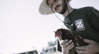 Young agrarian with a chicken