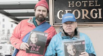 Former Vancity Community Foundation executive director Derek Gent joins vendor Bob Dennis for Megaphone Magazine's annual Big Sell on January 20, 2018